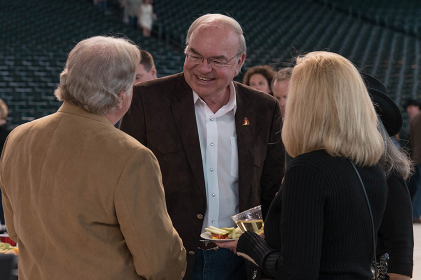 PHOENIX, ARIZONA- MARCH 31: Ken Kendrick talks with guests as the Arizona Diamondbacks host the 10th annual Evening on the Diamond at Chase Field on March 31, 2016 in Phoenix, Arizona. (Photo by Olivia Demetros/ Arizona Diamondbacks)