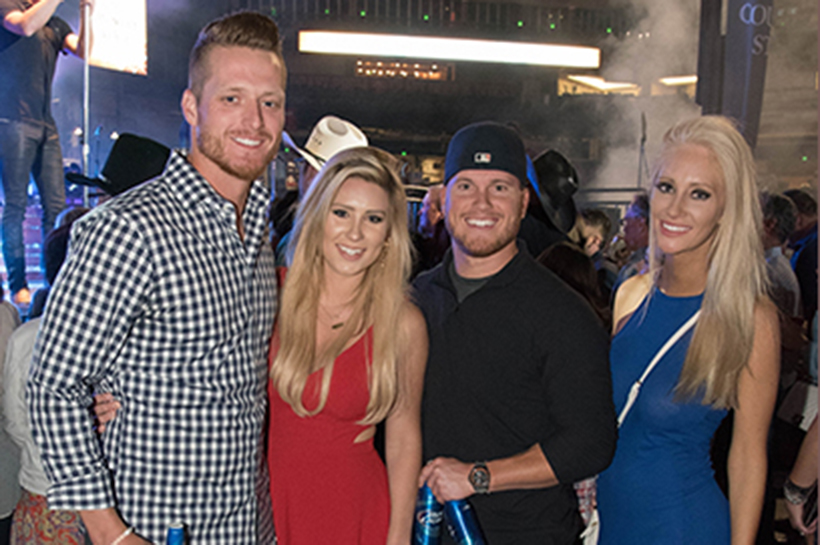 PHOENIX, ARIZONA- MARCH 31: Shelby Miller and friends smile for a picture during the Cole Swindell concert as the Arizona Diamondbacks host the 10th annual Evening on the Diamond at Chase Field on March 31, 2016 in Phoenix, Arizona. (Photo by Olivia Demetros/ Arizona Diamondbacks)
