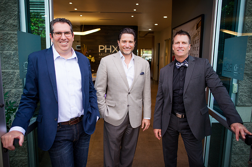 PHX Architecture principals Scott Carson, AIA, NCARB, LEED AP; Erik Peterson, AIA, NCARB; and Ron Skoog, AIA, LEED-AP.