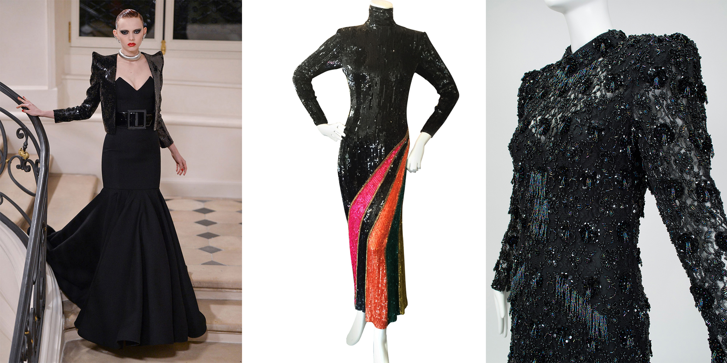 Saint Laurent gown (A/W 2016) compared with two similar vintage gowns at Black Cat Vintage.