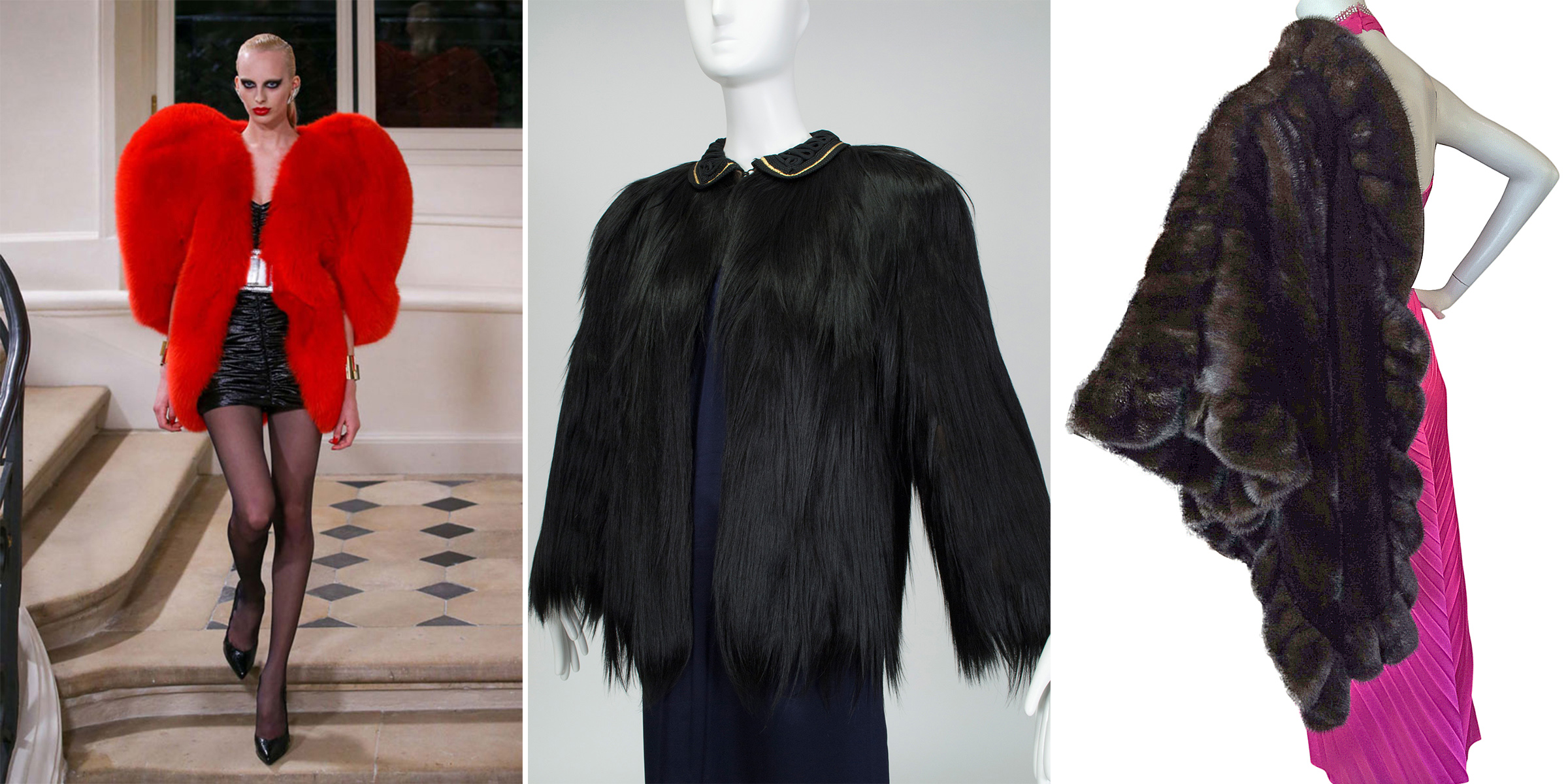 Saint Laurent fur (A/W 2016) compared with two vintage furs at Black Cat Vintage.