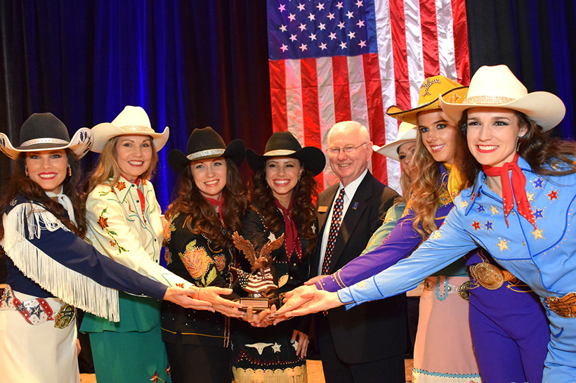Community Heroes Award recipients (The Cowgirls Historical Foundation) with VMLC President Sam Young crop