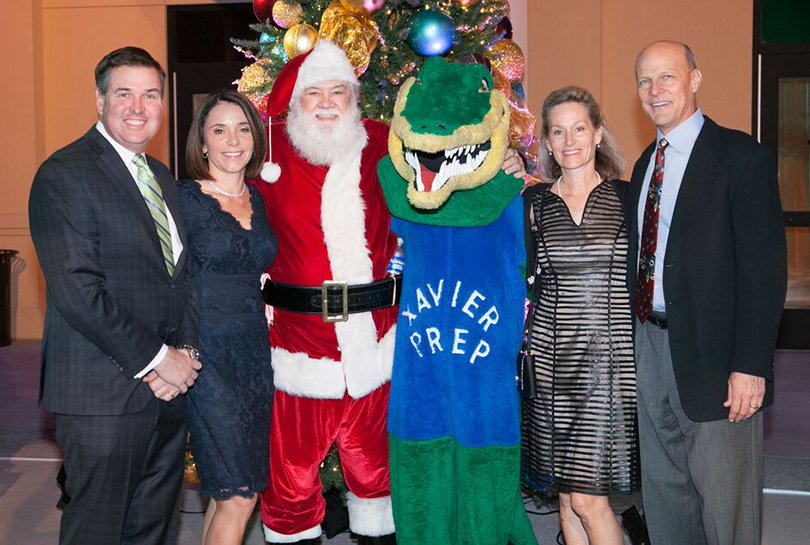 Mike and Mary Straneva, Santa, Xavier Gator, Allyson and David Beckham crop