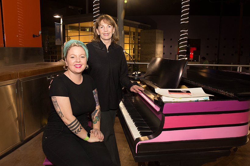 Artist Lauren Lee (seated) and piano donor Hazel Howkins crop
