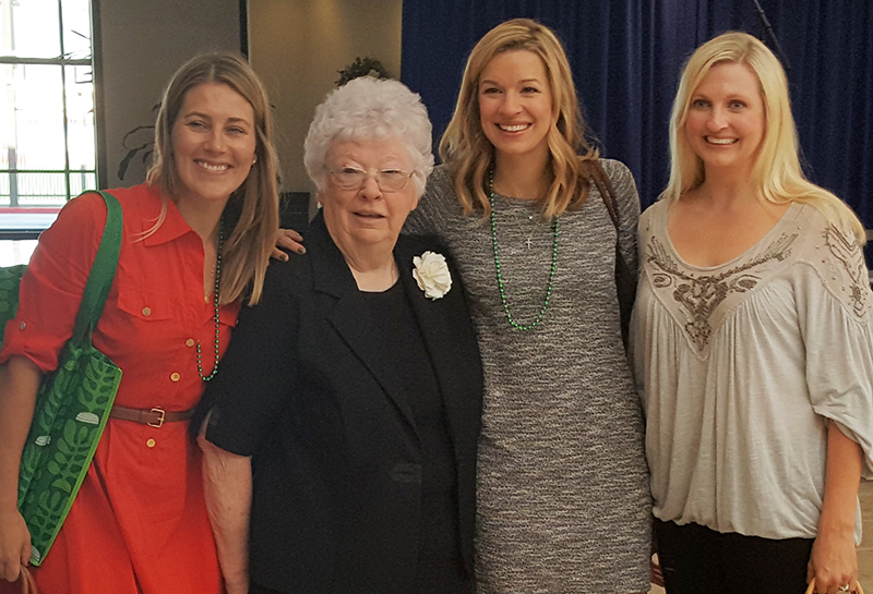 Xavier Alumnae (Class of 2000) Sarah Ragland, Christina Ackerman, Lindsay Clifford with Sister Joan Fitzgerald crop