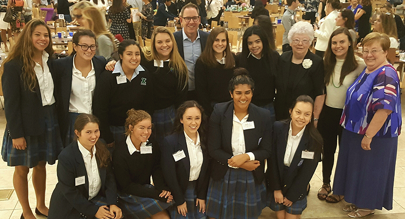 Xavier Student Ambassadors, Sam Fox, Sister Joan Fitzgerald, Stacey Ferreira and Sister Joanie Nuckols