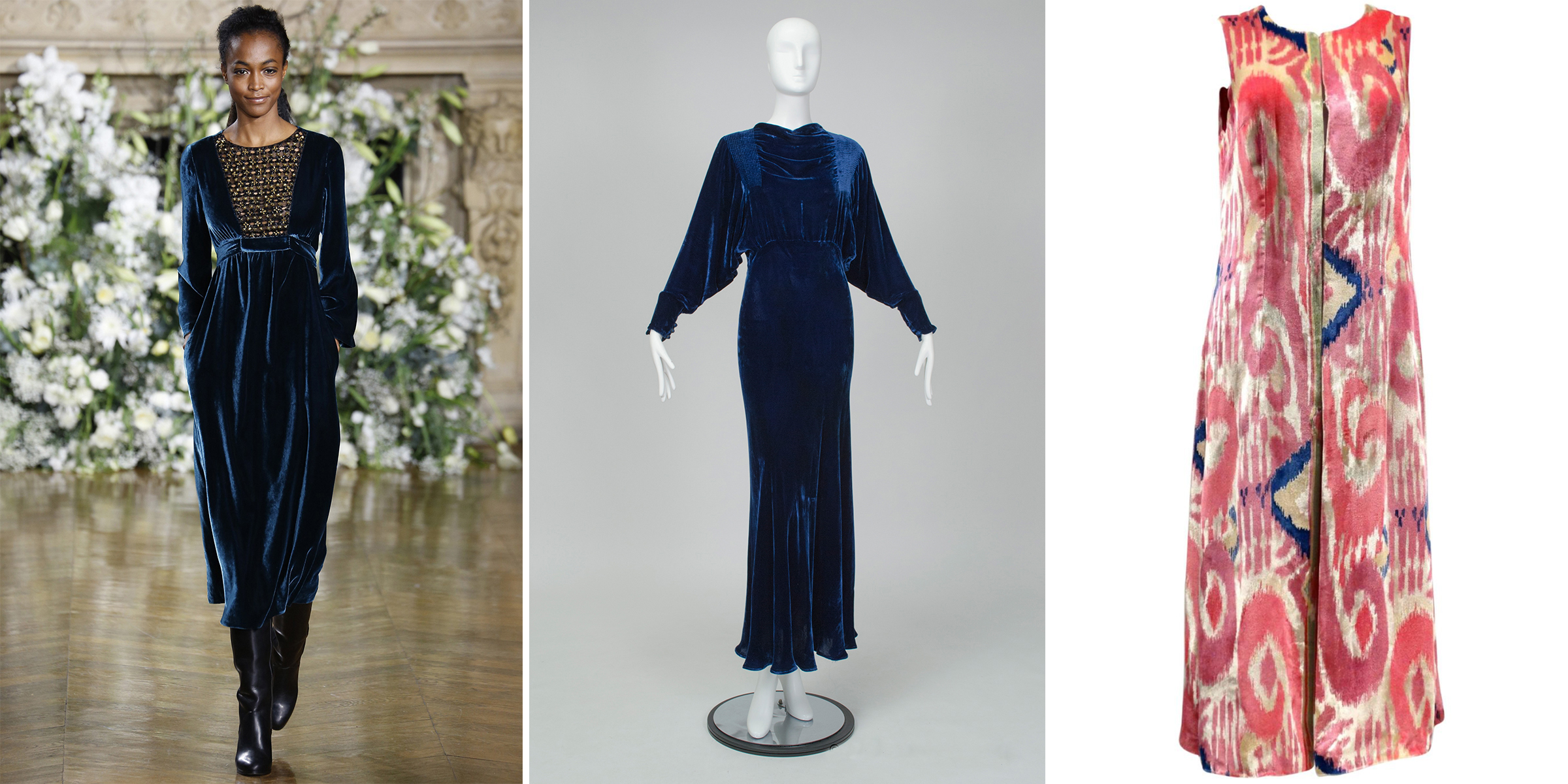 37a87bceab8 ... Yves Saint Laurent mink stole for I.Magnin at Fashion by Robert Black  (right). Velvet Is Back. A Vanessa Seward gown (A/W 2016) compared with a  similar ...