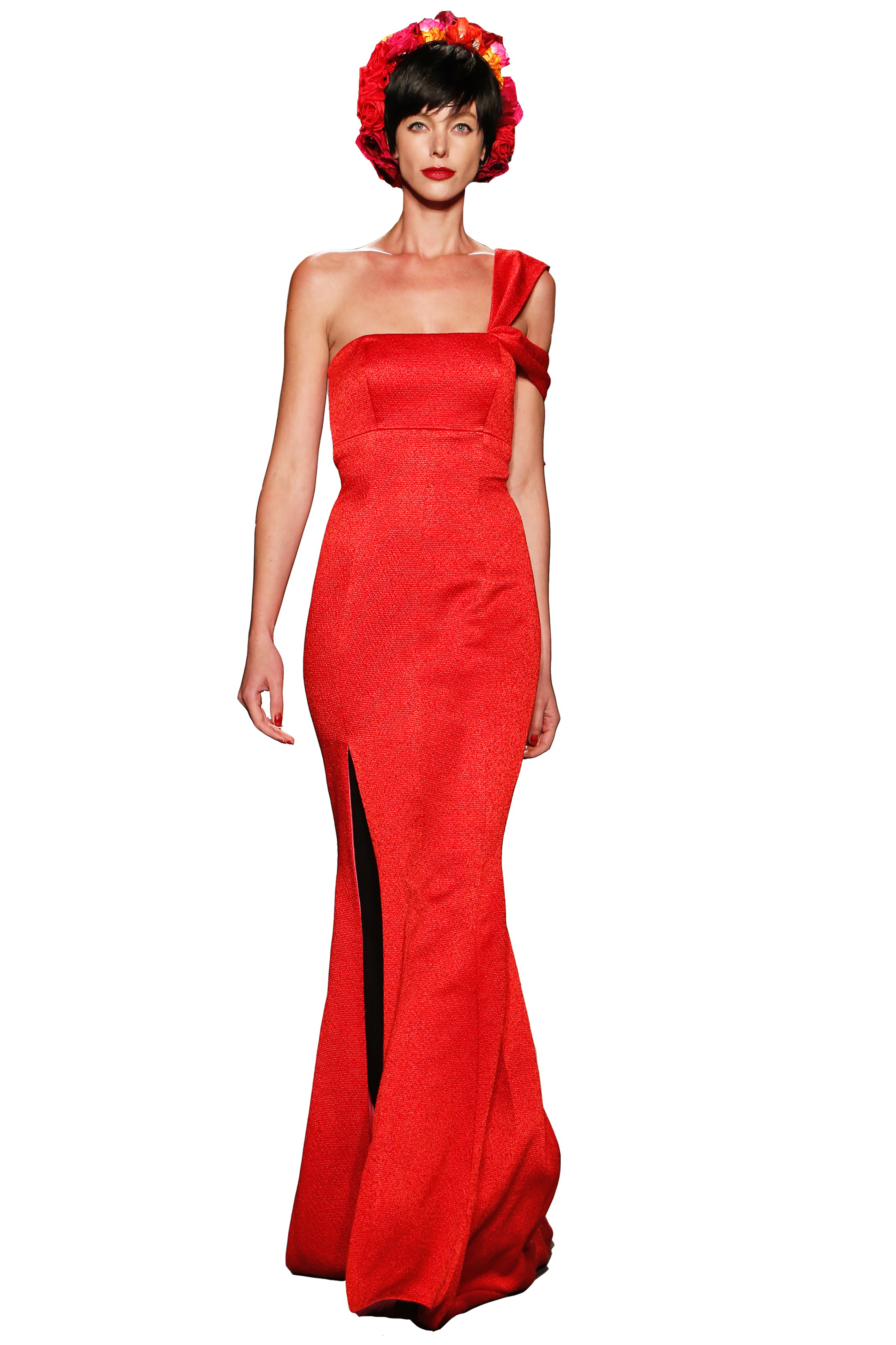 6666d36185a0e2 Haute red couture silk ottoman side-slit gown with assumption draped  shoulder straps and trails lined with hot pink silk satin