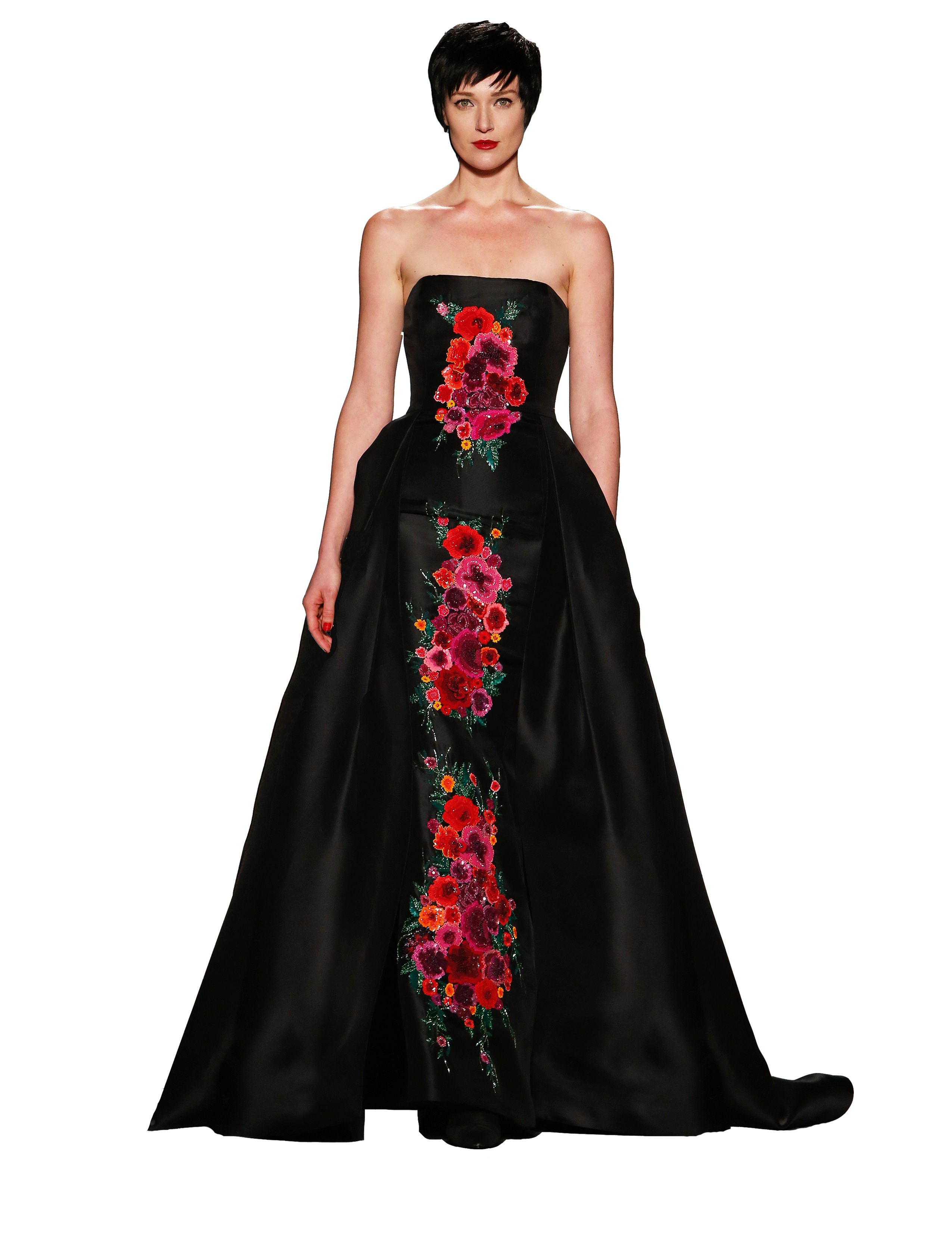 """Black couture silk hazard strapless ball gown with hand-beaded """"Haute Roman  Holiday"""" Bouquet, Zang Toi, fall 2018"""