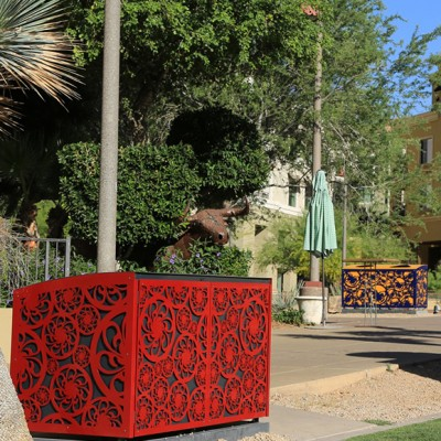 Artist-Designed Recycle Bins at Scottsdale Waterfront